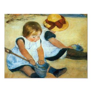 Mary Cassatt's Children on the Beach  (1884) 4.25x5.5 Paper Invitation Card