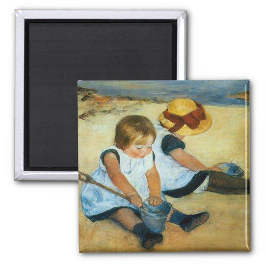 Mary Cassatt's Children on the Beach  (1884) Magnet