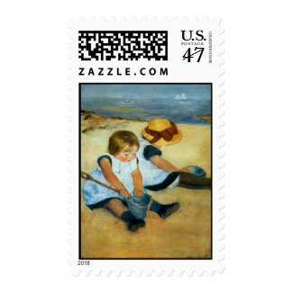 Mary Cassatt's Children on the Beach  (1884) Postage