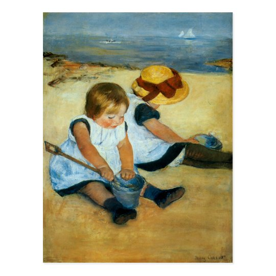 Mary Cassatt's Children on the Beach  (1884) Postcard
