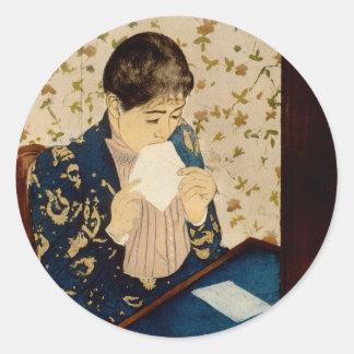 Mary Cassatt's The Letter (circa 1891) Classic Round Sticker