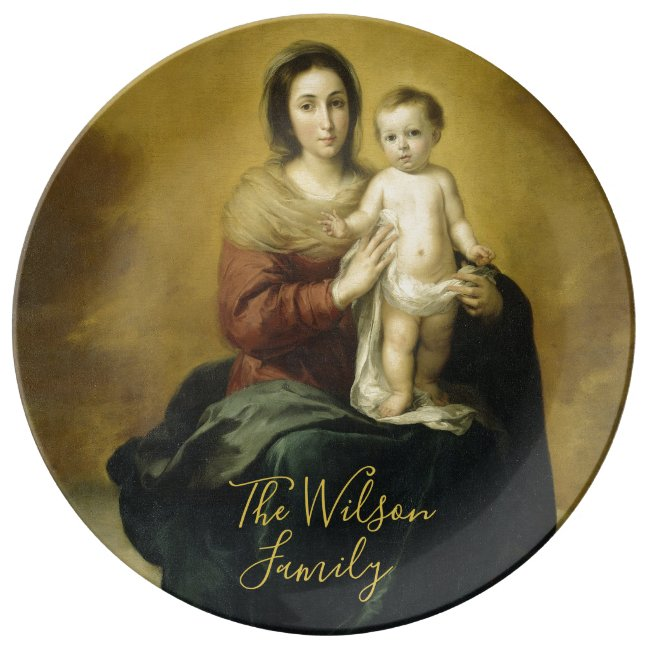 Mary & Child Personalized Fine Art Porcelain Plate