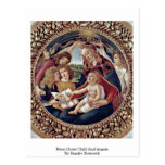 Mary,Christ Child And Angels By Sandro Botticelli Postcard