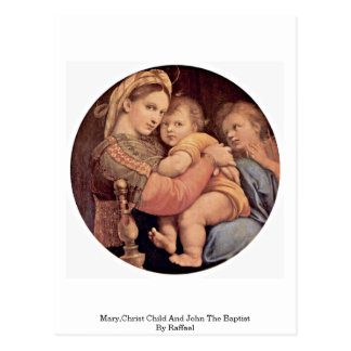 Mary,Christ Child And John The Baptist By Raffael Postcard