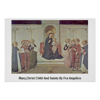 Mary,Christ Child And Saints By Fra Angelico Poster