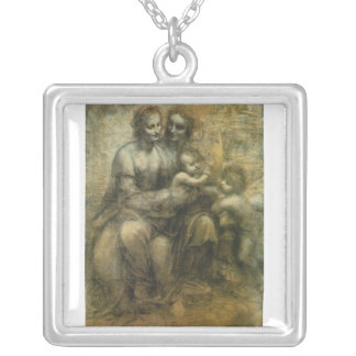 Mary, Christ, St. Anne, and St. John by Da Vinci Square Pendant Necklace