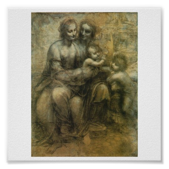 Mary, Christ, St. Anne, and St. John by Da Vinci Poster