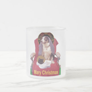 Mary Christmas mug, adorable mini nativity scene Frosted Glass Coffee Mug