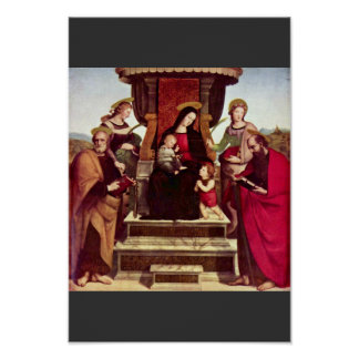 Mary Enthroned With Christ Child St. John The Bapt Poster