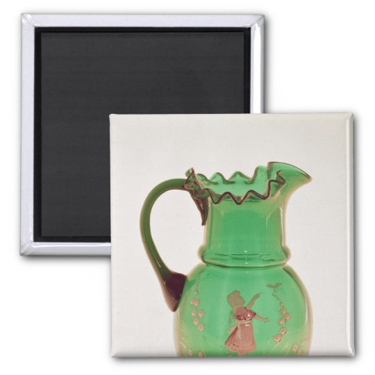 Mary Gregory green jug with fired enamel Magnet