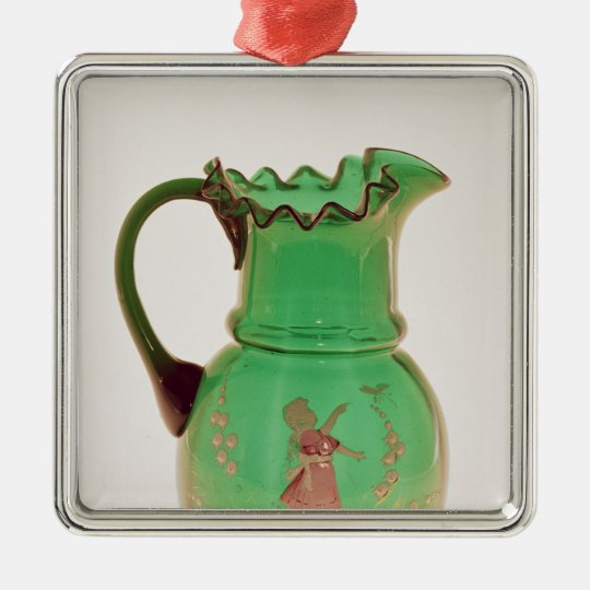 Mary Gregory green jug with fired enamel Metal Ornament