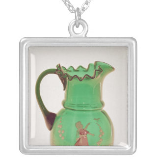 Mary Gregory green jug with fired enamel Silver Plated Necklace