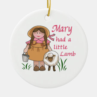 MARY HAD A LITTLE LAMB CERAMIC ORNAMENT
