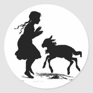 Mary Had a Little Lamb Easter Classic Round Sticker