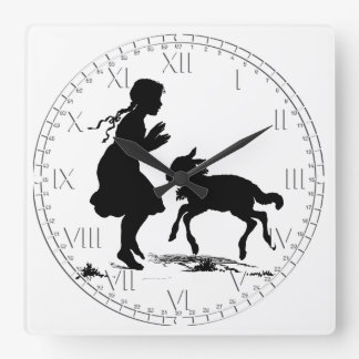 Mary Had a Little Lamb Easter Square Wall Clocks