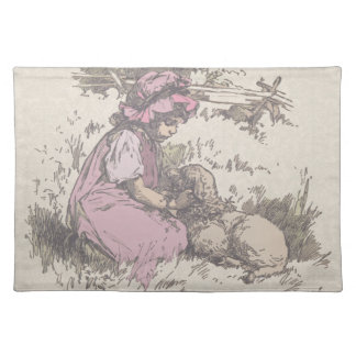 Mary Had a Little Lamb Nursery Rhyme Cloth Placemat
