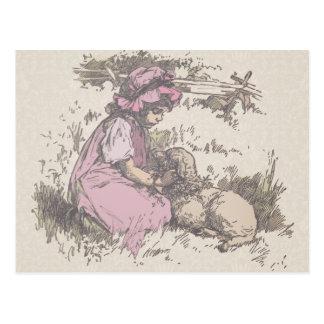 Mary Had a Little Lamb Nursery Rhyme Postcard