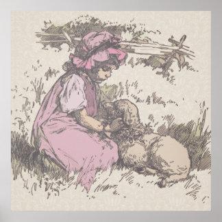 Mary Had a Little Lamb Nursery Rhyme Print
