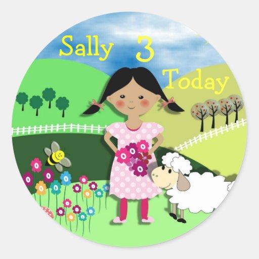 Mary Had A Little Lamb Nursery Rhyme Theme Classic Round Sticker