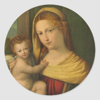 Mary Holding Jesus Benvenuto Tisi Classic Round Sticker