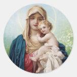 Mary holding Jesus Classic Round Sticker