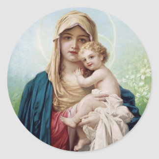 Mary holding Jesus Classic Round Sticker