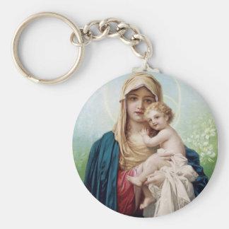 Mary holding Jesus Keychain