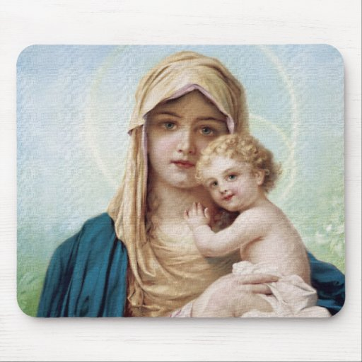 Mary holding Jesus Mouse Pad