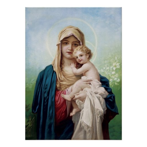 Mary holding Jesus Poster