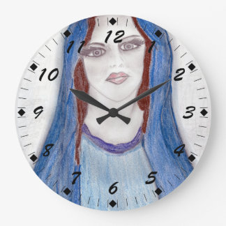 Mary In Blue Large Clock