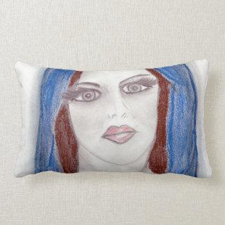 Mary In Blue Lumbar Pillow