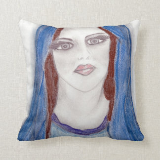 Mary In Blue Throw Pillow