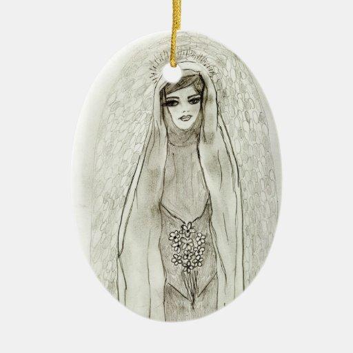 Mary In The Grotto Ceramic Ornament