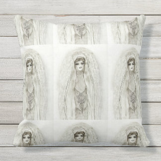Mary in the Grotto Outdoor Pillow