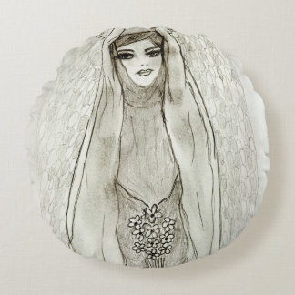 Mary in the Grotto Round Pillow