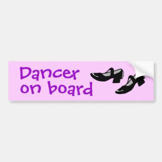 Mary Janes Dance Shoes Dancer on Board Custom Bumper Sticker