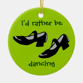 Mary Janes Dance Shoes Id Rather Be Dancing Double-Sided Ceramic Round Christmas Ornament