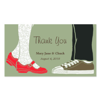 Mary Janes & Sneakers (Camo) Wedding Favor Tags Business Card