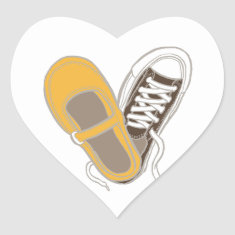Mary Janes & Sneakers (White) Envelope Seal Heart Stickers