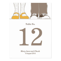 Mary Janes & Sneakers (White) Table Number Post Cards