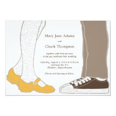 Mary Janes & Sneakers (White) Wedding Invitation