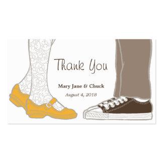 Mary Janes y zapatillas de deporte que casan etiqu Tarjetas Personales