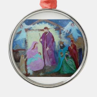 Mary, Joseph an Jesus Metal Ornament
