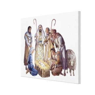 Mary, Joseph, and shepherds surrounding baby Jesus Canvas Print