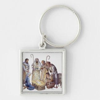 Mary, Joseph, and shepherds surrounding baby Jesus Keychain