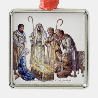 Mary, Joseph, and shepherds surrounding baby Jesus Metal Ornament