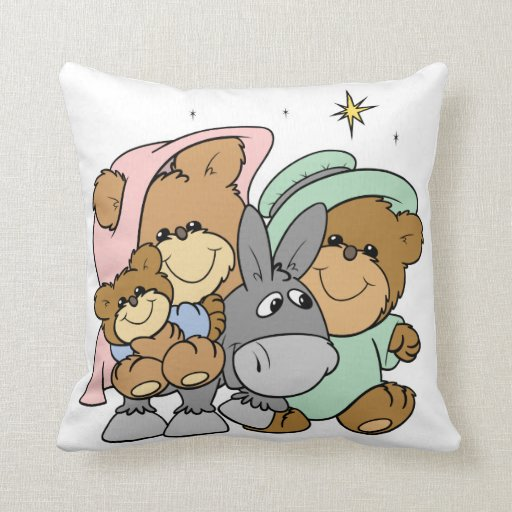 mary joseph baby jesus teddy bear christmas design throw pillow