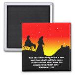 Mary & Joseph, Bible Scripture Verse 2 Inch Square Magnet