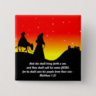 Mary & Joseph, Bible Scripture Verse Pinback Button