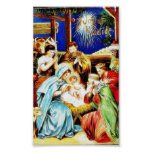 Mary, Joseph, shepards around the infant jesus on Posters